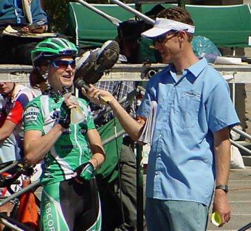 Interviewing Webcor's Cat Malone at the 2005 Tour of the Gila criterium, Cat's first NRC win